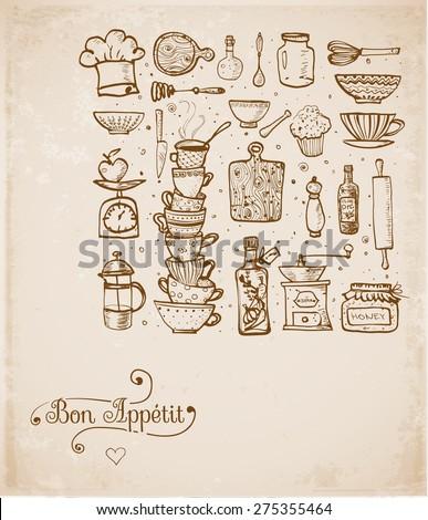 Vintage Kitchen Utensils Illustration card vintage kitchen utensils handdrawn ink stock vector 275355464