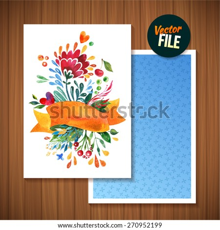 Card with watercolor flowers vector template for invitations, flyers, postcards, cards. Aquarelle Flowers, Ribbon and Leaves for Greeting and Wedding Cards. - stock vector