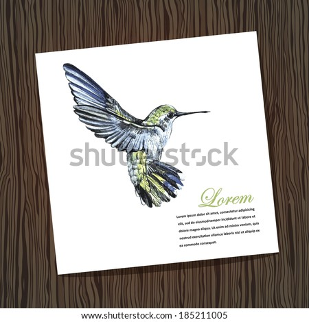 Card with watercolor hummingbird. Watercolor. Handmade. Illustration for greeting cards, invitations, and other printing and web projects. - stock vector