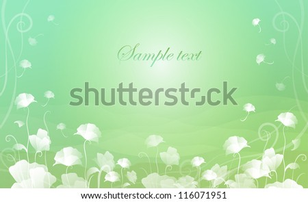 card with white flowers on a light green background - stock vector