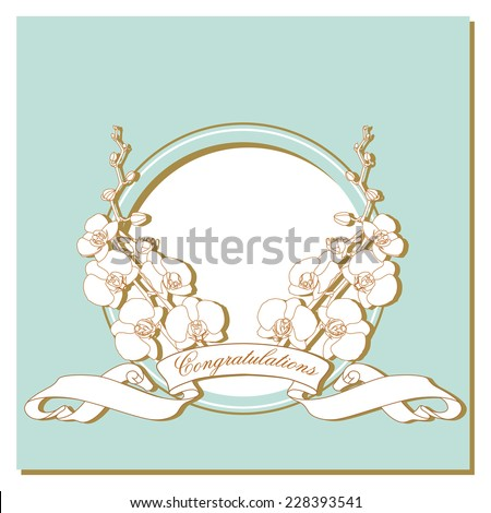 card with white orchids on a blue frame - stock vector