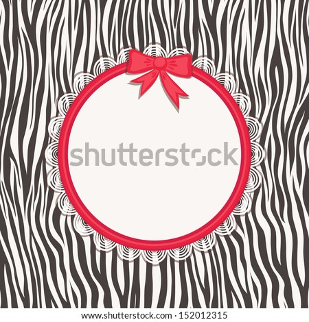 Card with zebra texture and frame (form for your text). Natural patterns. Fashionable safari style. Vector illustration.   - stock vector