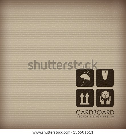 Cardboard background with different icons vector illustration - stock vector