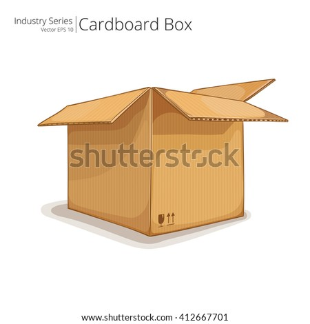 Cardboard Box. Abstract open Cardboard Box. Front perspective view. Vector EPS10. - stock vector