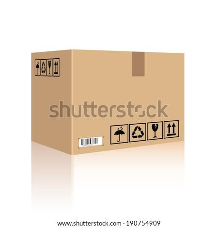 Cardboard box carton container. Vector illustration - stock vector