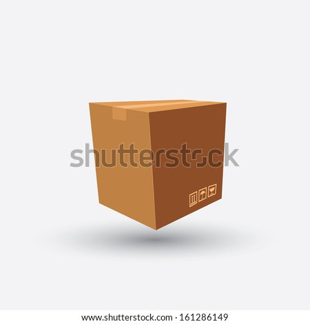 cardboard box carton container with shadow on grey background - stock vector
