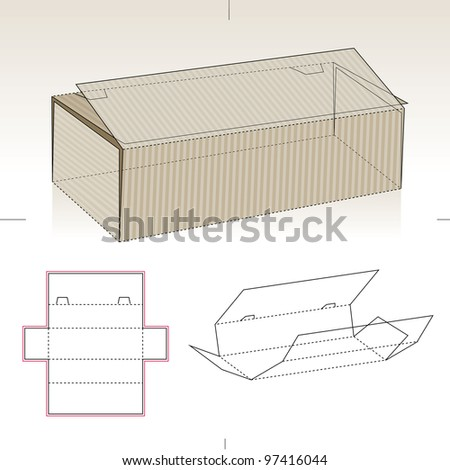 Cardboard Box for Packaging and Die-cut Pattern - stock vector