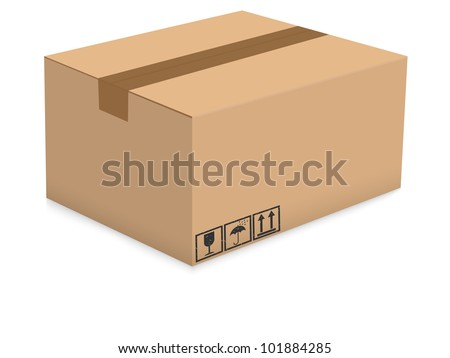 Cardboard box isolated on the white background. Vector illustration. - stock vector