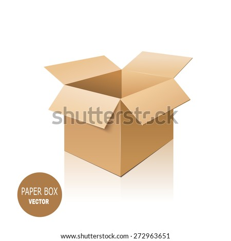Cardboard box isolated on white background. Vector illustration. - stock vector