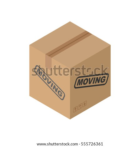 Cardboard box Moving isolated. pasteboard case on white background