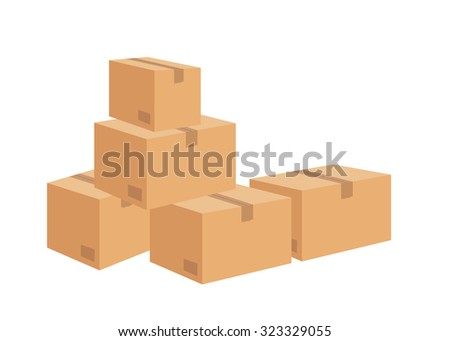 Cardboard Box on White background. vector