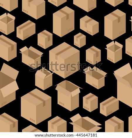 Cardboard box seamless pattern. Paper packaging background - stock vector