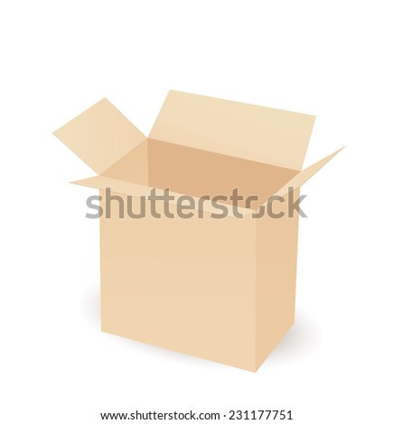 Cardboard box taped up and isolated on a white background. - stock vector