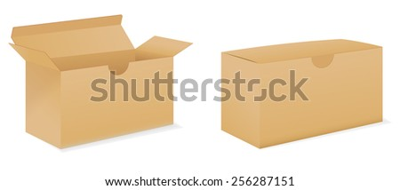 Cardboard box - vector drawing isolated on white background - stock vector