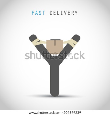 Cardboard box with a slingshot - stock vector