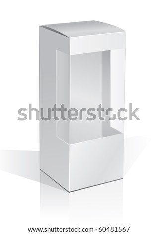 cardboard box with a transparent plastic window - stock vector