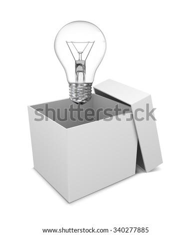 cardboard box with lit light bulb - stock vector