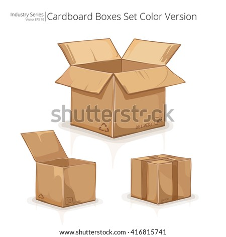 Cardboard Boxes. Abstract set of Cardboard Boxes. Color series. Vector EPS10. - stock vector