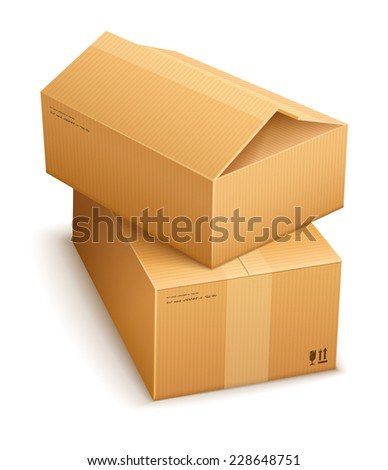 Cardboard boxes for mail delivery. Eps10 vector illustration. Isolated on white background - stock vector
