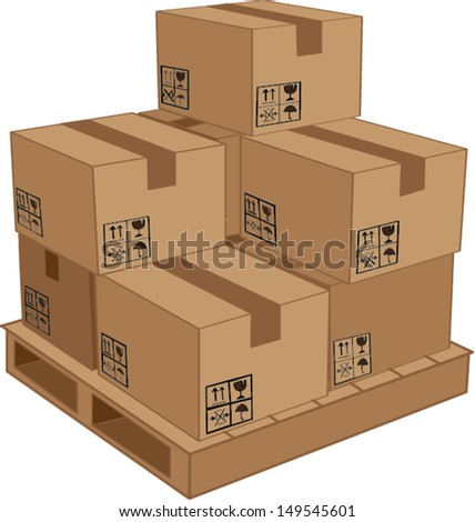 cardboard boxes on wooden palette  illustration - stock vector