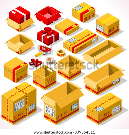 Cardboard Boxes Set opened closed sealed with tape dispenser big or small format. Flat style vector illustration isolated on white background. Delivery Infographic for holiday gift EPS JPG AI 10 JPEG - stock vector
