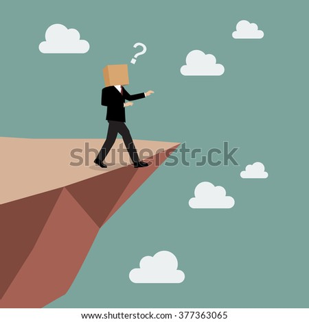 Cardboard businessman walk straight into the abyss. Business concept - stock vector