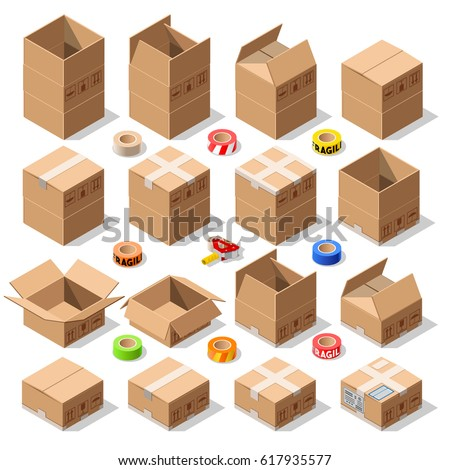 cardboard carton boxes pack set opened stock vector royalty free