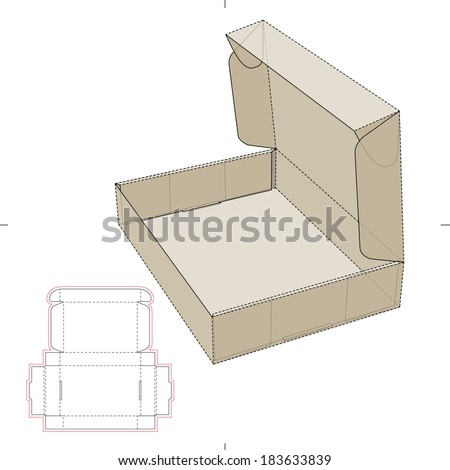 Cardboard Flat Box with DIe-cut Pattern - stock vector