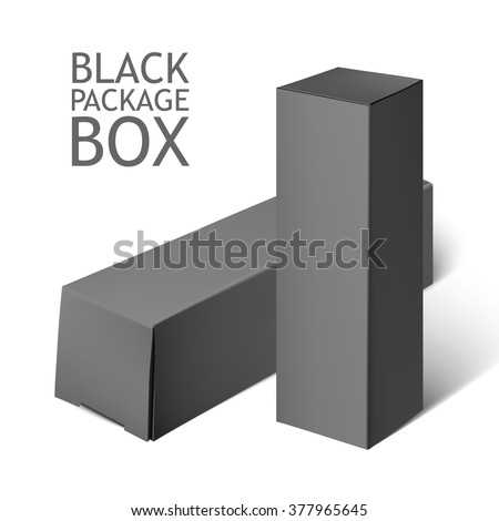Cardboard Package Box. Set Of black Package Square For Software, DVD, Electronic Device And Other Products.  Mock Up Template Ready For Your Design.  Vector Illustration  Isolated On White Background. - stock vector