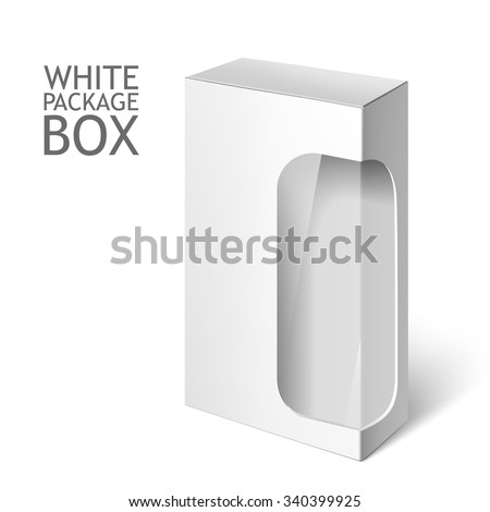 Cardboard Package Box. Set Of White Package Square For Software, DVD, Electronic Device, Medical and Cosmetic Products with Window. Mock Up Template Ready For Your Design. Isolated On White Background - stock vector