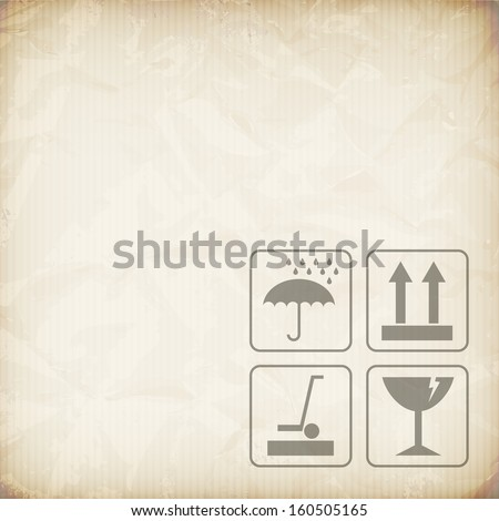 Cardboard packaging symbols on paper texture, isolated from background.   - stock vector