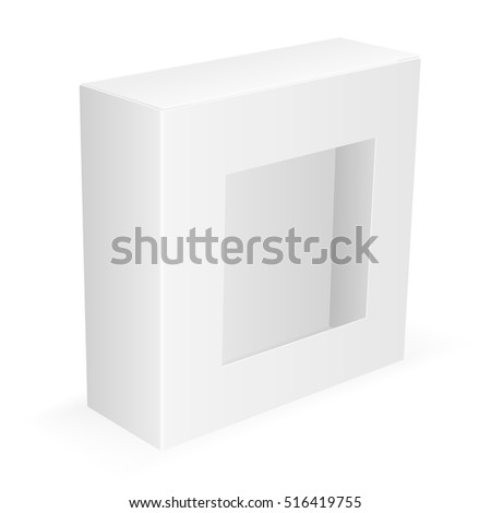 Cardboard packing box with a transparent window. Isolated on white background.