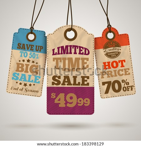 Cardboard sale limited time hot price promotion tags template vector illustration - stock vector