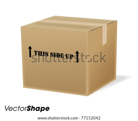 Cardboard shipping box vector illustration - stock vector