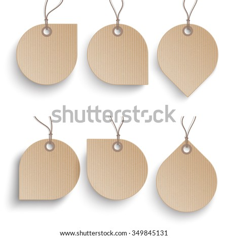 Cardboard speech bubble price stickers on the white background.  Eps 10 vector file.