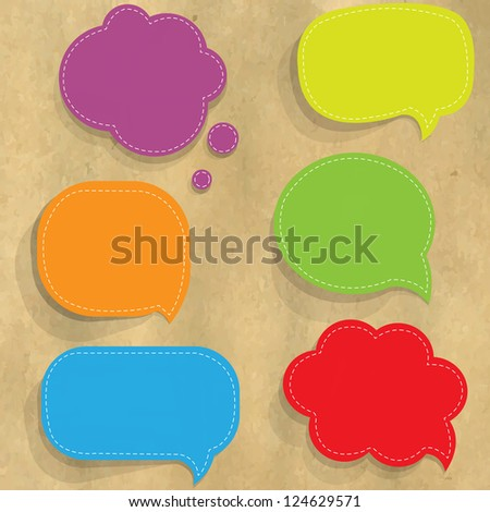 Cardboard Structure With Color Paper Speech Bubbles, With Gradient Mesh,  Vector Illustration - stock vector