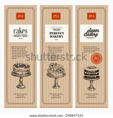 Cardboard  Vintage Bakery vertical banner collection. Vector Illustration - stock vector