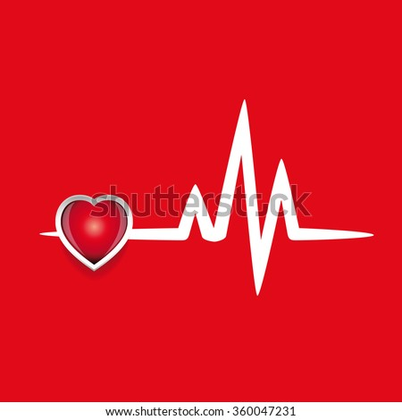 Cardiogram and red heart vector - stock vector