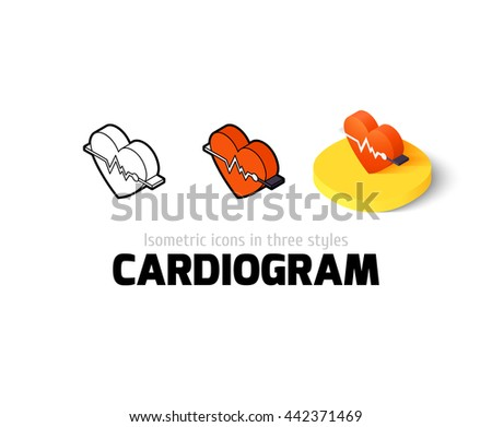 Cardiogram icon, vector symbol in flat, outline and isometric style - stock vector