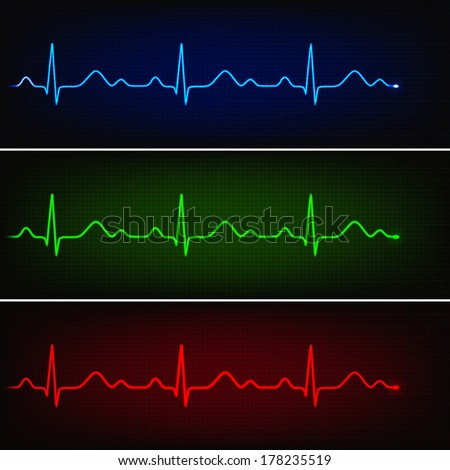 Cardiogram of healthy heart in three neon colors - stock vector