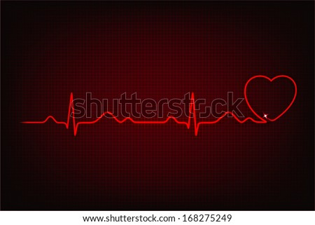 Cardiogram of love and health. Cardiogram line forming heart shape - stock vector