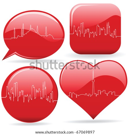 cardiogram of the cities - stock vector
