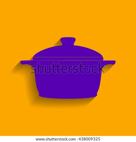 Cardiogram on heart shape. Violet icon with shadow on orange background. - stock vector
