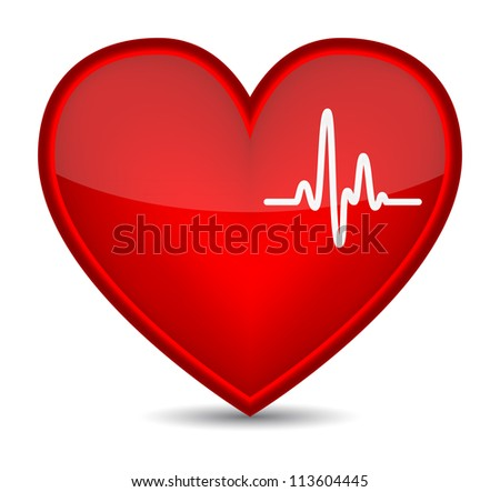 Cardiogram on red heart shape. Vector illustration - stock vector
