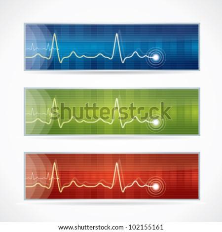Cardiogram or medical banner set - stock vector