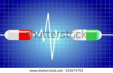 cardiogram with heart. Medicine vector seamless - stock vector