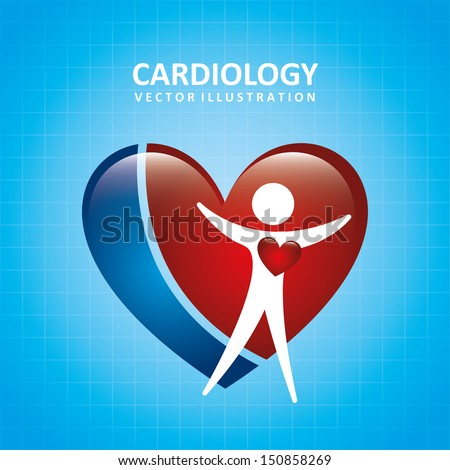 cardiology design over blue background vector illustration  - stock vector