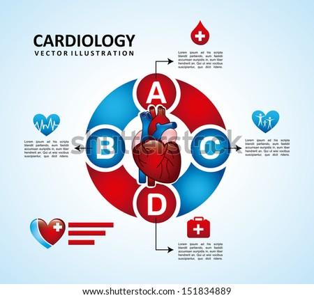 cardiology design over blue background vector illustration  - stock vector