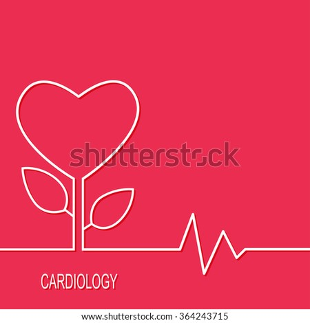 Cardiology design over red background. Vector illustration - stock vector