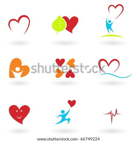 Cardiology, heart and people icons collection. VECTOR - stock vector